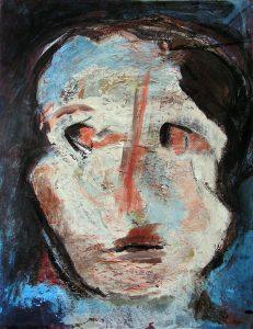 Peinture de Joëlle Chevallier, d'après une tête de baby-foot.