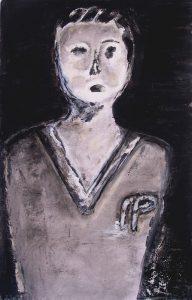 Peinture de Lucienne Cywier, d'après une tête de baby-foot.
