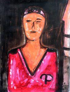 Peinture de Marinette Le Hen, d'après une tête de baby-foot.