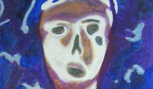 Peinture de Yolande Bernard d'après une tête de baby-foot (détail)