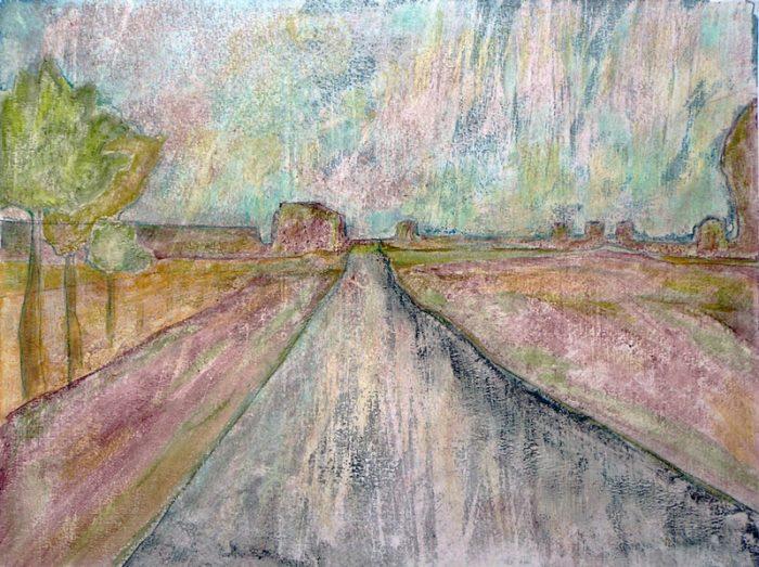 Dominique Charbeau 2005 - Route secondaire filant vers l'horizon - Peinture acrylique sur papier.