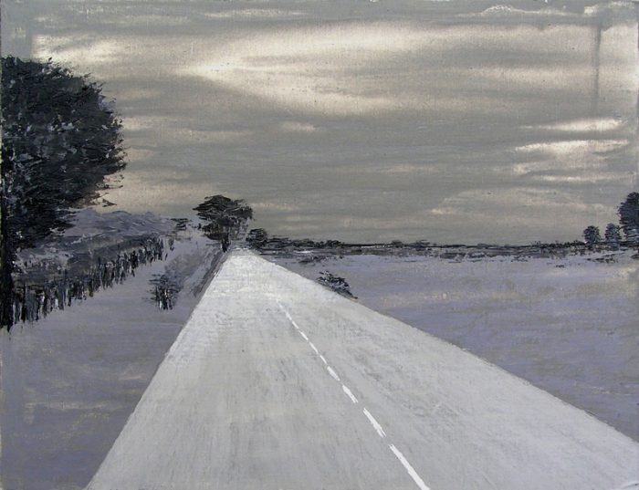 Jola Sidi 2005 - Route secondaire filant vers l'horizon - Peinture acrylique sur papier.