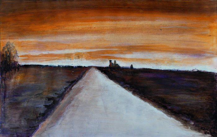 Lucienne Cywier 2005 - Route secondaire filant vers l'horizon - Peinture acrylique sur papier.