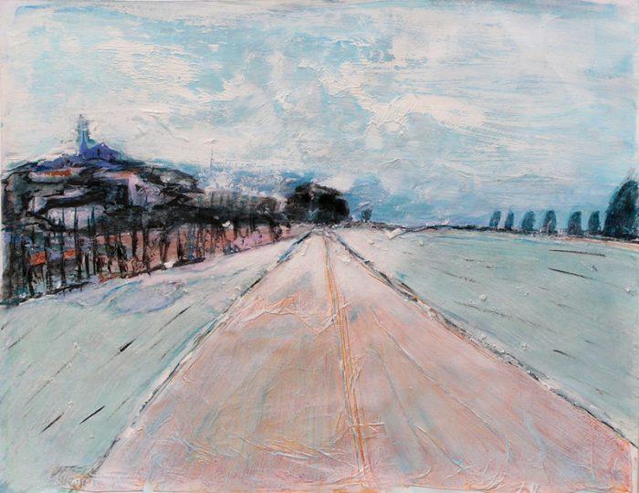 Marinette Le Hen 2005 - Route secondaire filant vers l'horizon - Peinture acrylique sur papier.