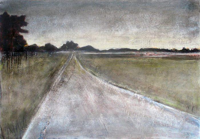 Mireille Cahuzac 2005 - Route secondaire filant vers l'horizon - Peinture acrylique sur papier