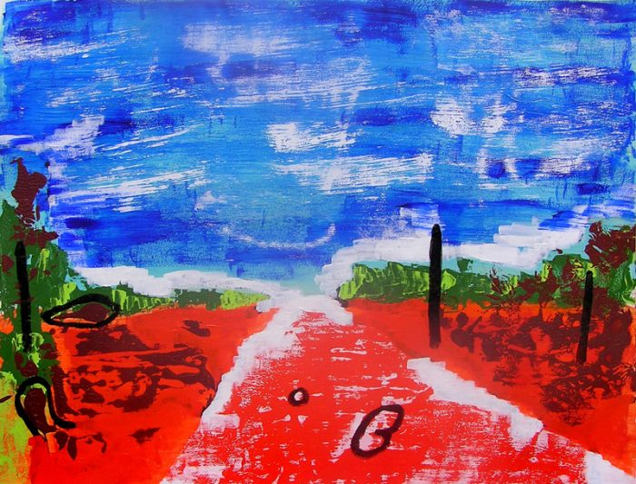 Odile Ropert 2005 - Route caniculaire filant vers l'horizon - Peinture acrylique sur papier.