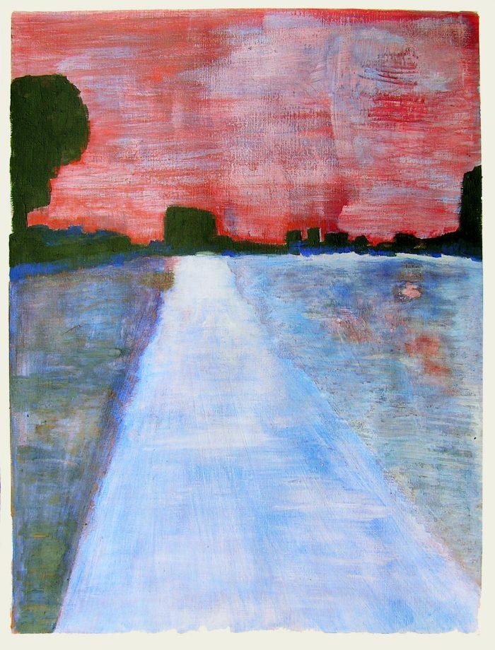Sylvette Féral 2005 - Route secondaire filant vers l'horizon - Peinture acrylique sur papier.