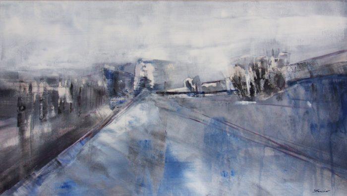 Sylvie Foussier 2005 - Route secondaire filant vers l'horizon - Peinture acrylique sur papier.