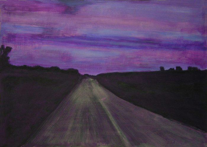 Yolande Bernard 2005 - Route secondaire filant vers l'horizon - Peinture acrylique sur papier.