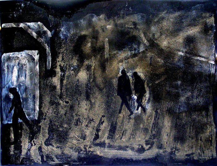 Béatrice Feltz 2005 - Passants solitaires dans les couloirs du métro - Acrylique et techniques mixtes sur papier.