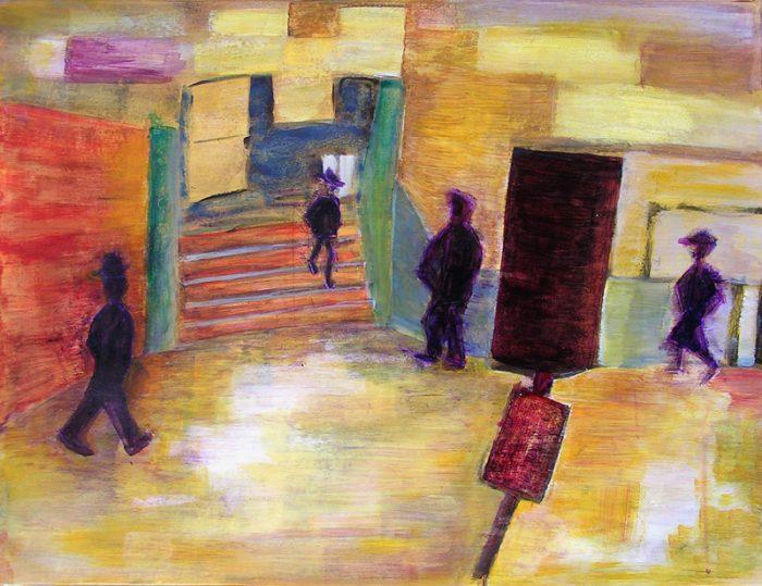 Lucienne Cywier 2005 - Passants solitaires dans les couloirs du métro - Acrylique et techniques mixtes sur papier.