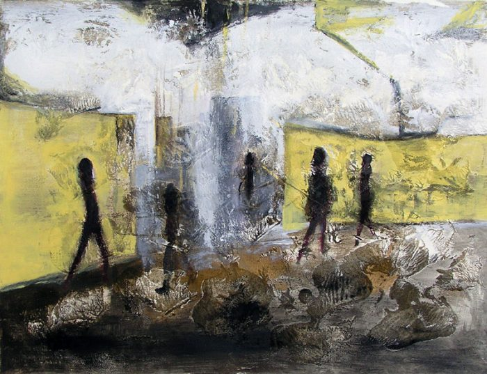 Maïko Combe-Kato 2005 - Passants solitaires dans les couloirs du métro - Acrylique et techniques mixtes sur papier.