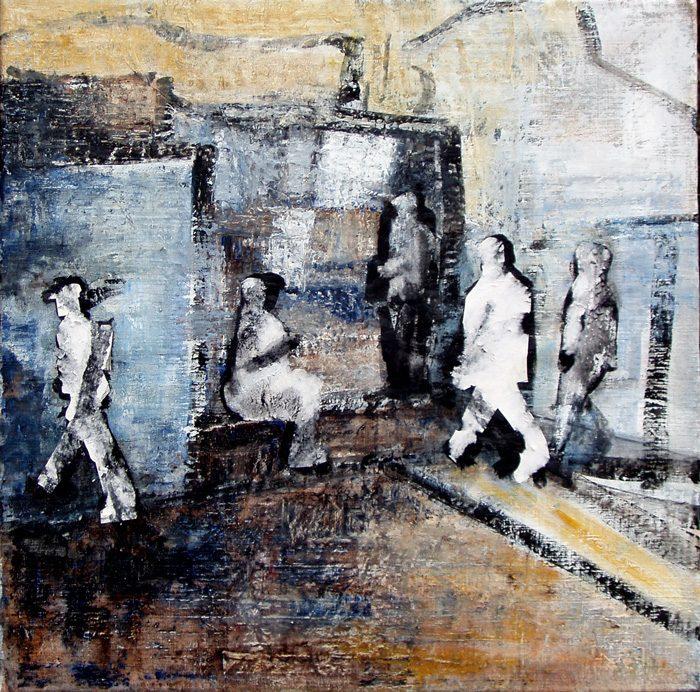 Nathalie Grange 2005 - Passants solitaires dans les couloirs du métro - Acrylique et techniques mixtes sur papier.