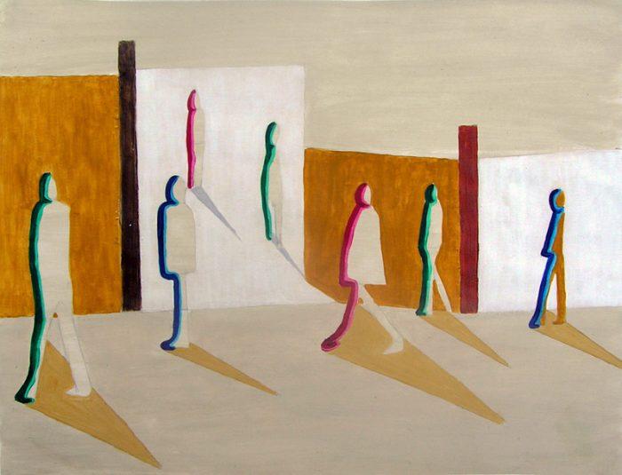 Philippe Touati 2005 - Passants solitaires dans les couloirs du métro - Acrylique et techniques mixtes sur papier.