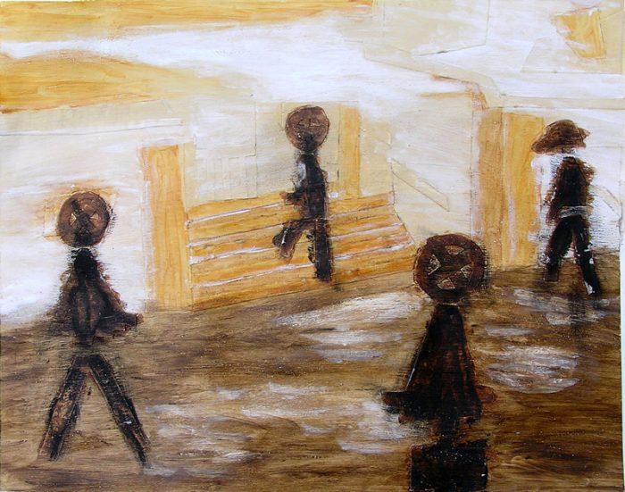 Saïda Nousseir 2005 - Passants solitaires dans les couloirs du métro - Acrylique et techniques mixtes sur papier.
