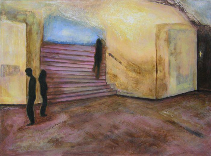 Yolande Bernard 2005 - Passants solitaires dans les couloirs du métro - Acrylique et techniques mixtes sur papier.