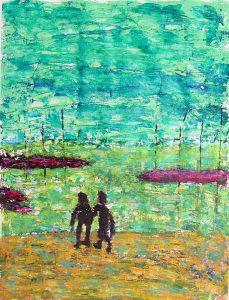 Anum 2005 - Deux personnes sur la plage d'un petit port de pêche.