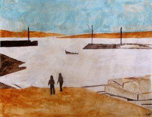 Bétrice Feltz 2005 - Deux personnes sur la plage d'un petit port de pêche.