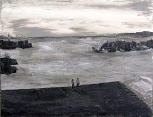 Jola Sidi 2005 - Deux personnes sur la plage d'un petit port de pêche.