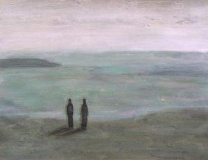 Kati Kukkasniemi 2005 - Deux personnes sur la plage d'un petit port de pêche.