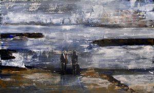 Marie-Pierre Baschet 2005 - Deux personnes sur la plage d'un petit port de pêche.
