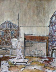 Une automobile est garée devant un entrepôt de poésie en gros ; un homme sur une planche équipée de roulettes, un bâton de marche à la main, transporte des enfants apeurés dans un panier.