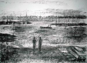 Lyliane Pfeiflé 2018 - Deux personnes sur la plage d'un petit port de pêche.