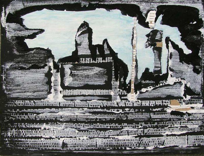 Interprétation d'une maison en ruine au moyen de collages et empreintes à la peinture acrylique.