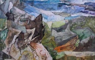 Martine Lucy 2007 - Paysage - Peinture et collage poncé sur papier.