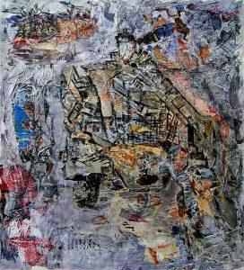 Rencontres imprévues - Peinture et collage d'Andrée Job-Querzola, 2007
