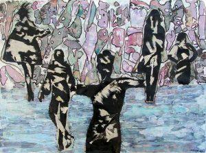 Rencontres imprévues - Peinture et collage d'Anum, 2007