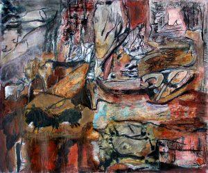 Rencontres imprévues, peinture sur collages de Madeleine Gautier-Brun, 2007