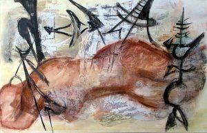 Rencontres imprévues, peinture sur transferts de Martine Aubrey, 2007