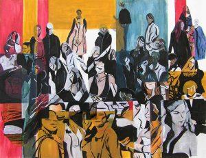 Rencontres imprévues - Peinture et collage de Martine Lucy, 2007