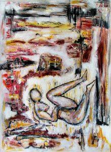 Rencontres imprévues, peinture sur collages de Oanh, 2007
