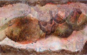 Peinture sur transferts et mortier de Sandra Gourier, 2007