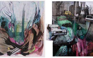 Rencontres imprévues - Peinture et collage de Solenne Blanc, 2007