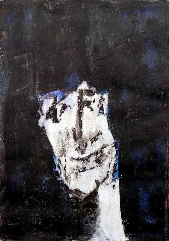 Andrée Job-Querzola 2008 - Portrait en masque - Acrylique sur papier