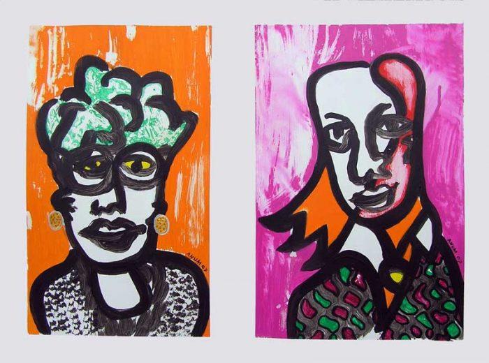 Anum 2008 - Portraits - Acryliques sur papier
