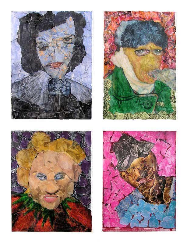 Anum 2008 - Portraits - Acryliques et collages sur papier