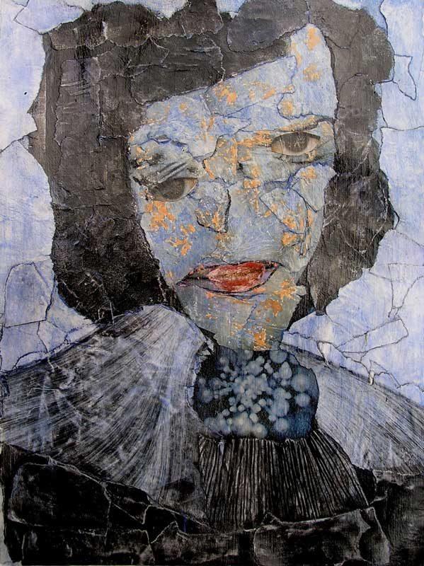 Anum 2008 - Portrait - Acrylique et collage sur papier