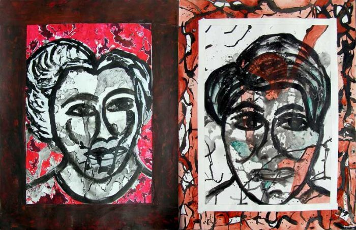 Danielle Reissner 2008 - Portraits en masque - Acryliques sur papier