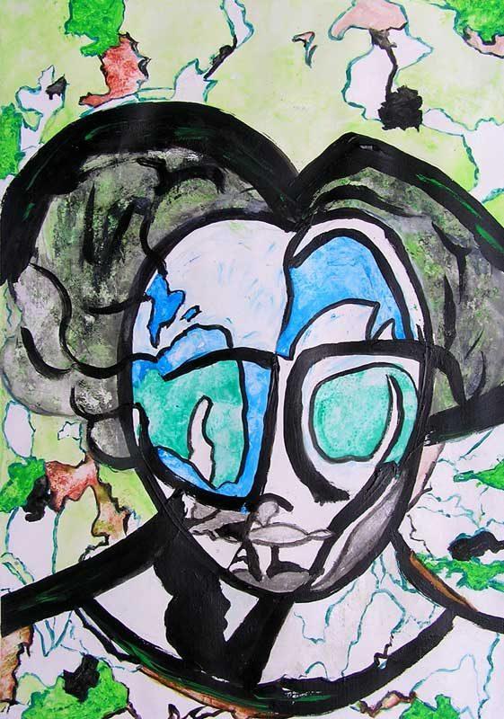 Danielle Reissner 2008 - Portrait en masque - Acrylique sur papier