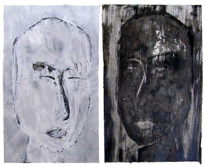 Dominique Charbeau 2008 - Portraits en masque - Acryliques et monotypes sur papier