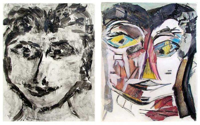 Eliane Le Roux 2008 - Portraits en masque - Acryliques et collage sur papier