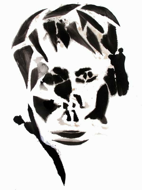 Elisabeth Lesage 2008 - Portrait - Acrylique sur papier - Lavis dans pochoir