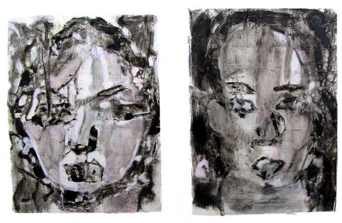 Gisèle Dubois 2008 - Portraits en masque - Acryliques sur papier