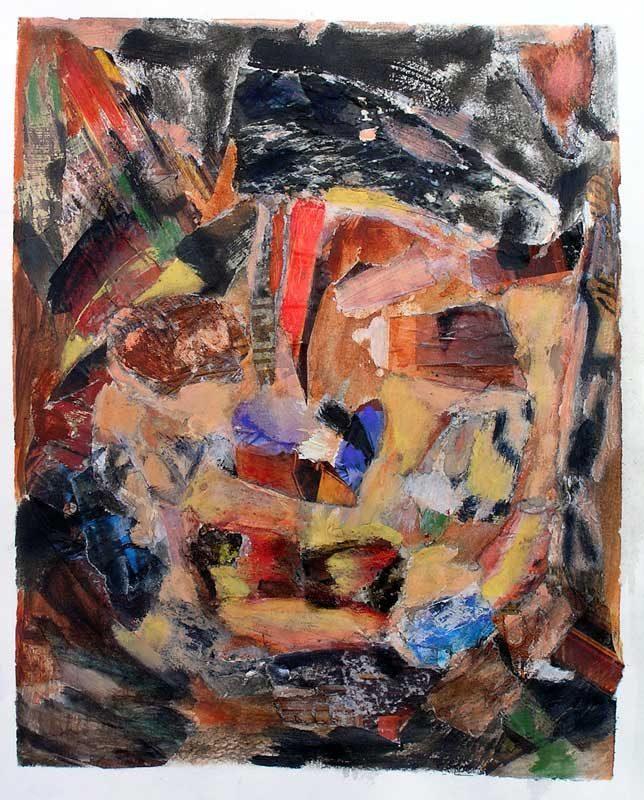 Gisèle Dubois 2008 - Portrait en masque - Acrylique et collage sur papier