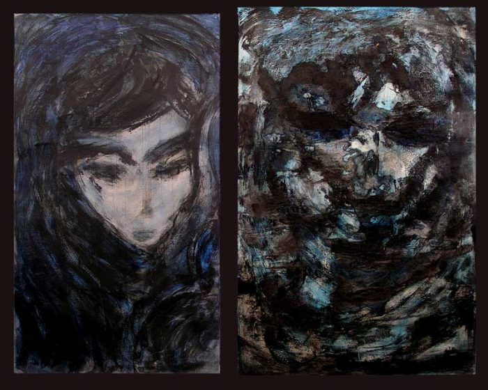 Hélène Couturier 2008 - Portraits en masque - Acryliques sur papier