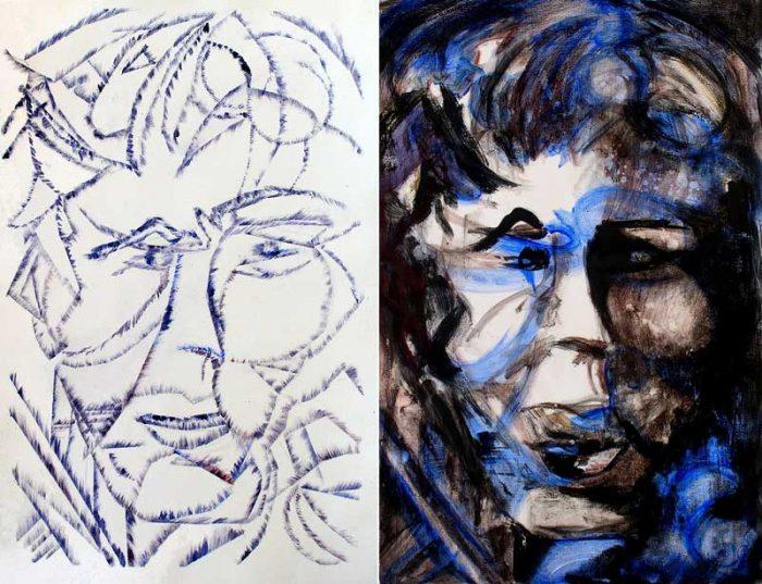 Jacqueline Gagnès-Deneux 2008 - Portraits en masque - Acryliques sur papier